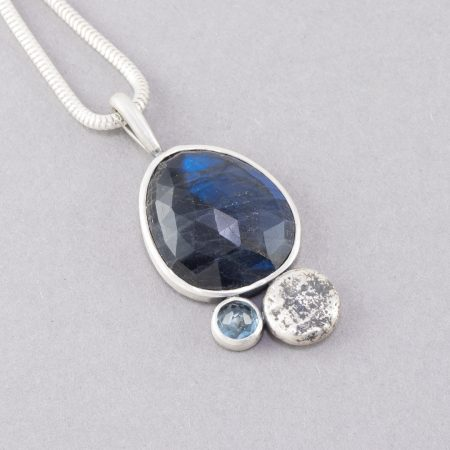 One of a kind Labradorite and aquamarine pendant