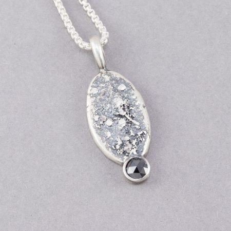Black diamond pendant in sterling silver
