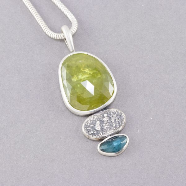 Sphene pendant with blue tourmaline in textured silver