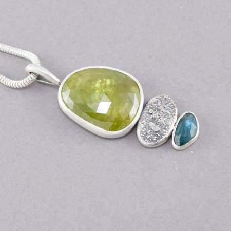 Sphene pendant with blue tourmaline in recycled silver
