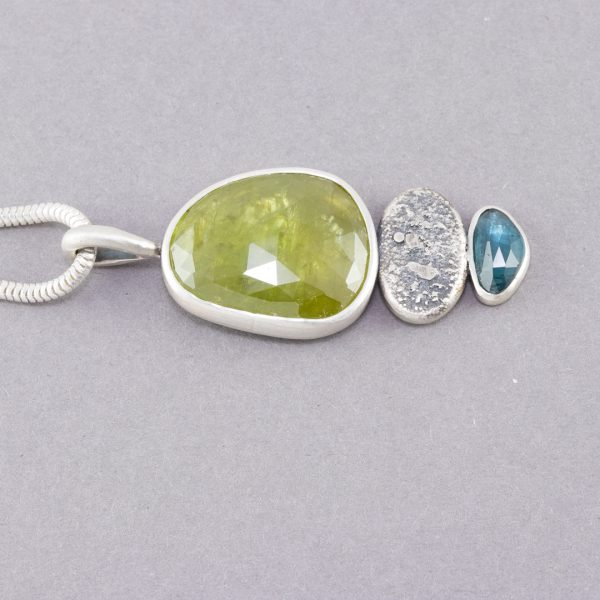One of a kind pendant with Sphene and blue tourmaline