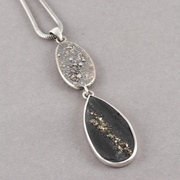 Pyrite in slate pendant with textured silver