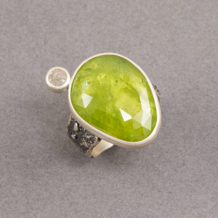 Sphene ring in textured sterling silver
