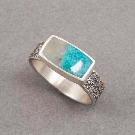 Amazonite ring in textured sterling silver