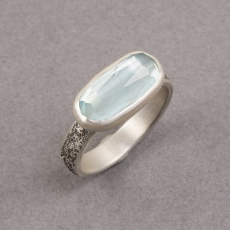 Aquamarine ring in textured silver