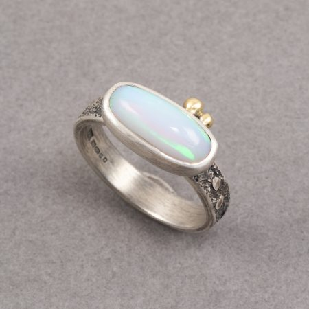Ethiopian opal ring in textured sterling silver