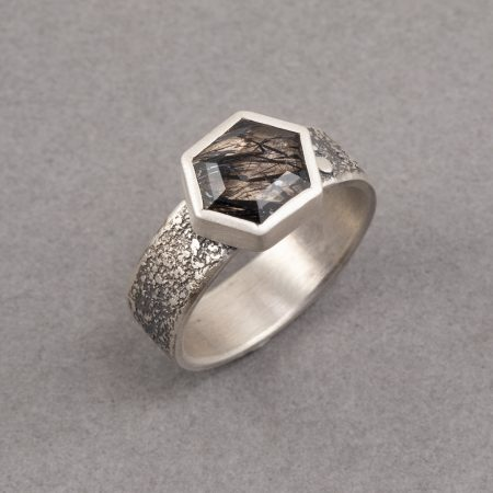 Tourmalinated quartz ring in textured sterling silver