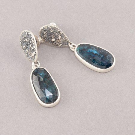 Kyanite stud earrings in textured sterling silver
