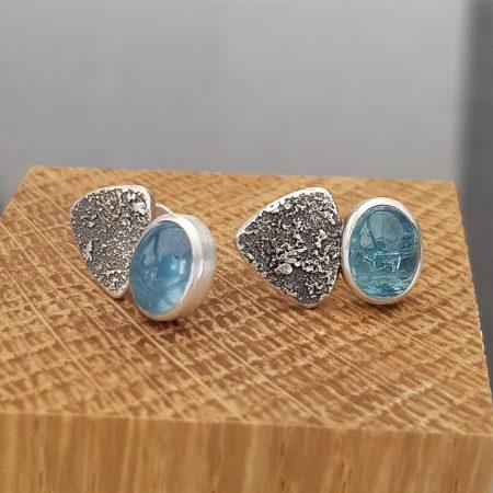 Aquamarine stud earrings in textured sterling silver