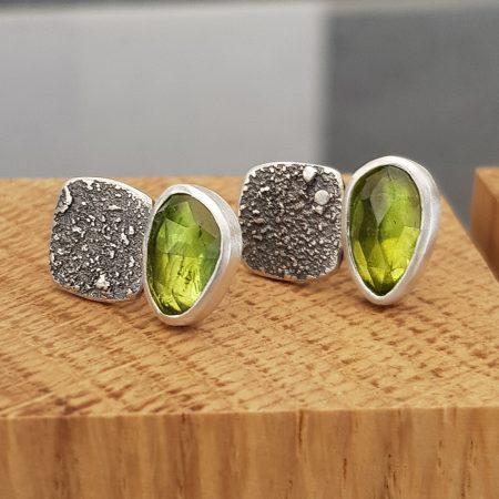 Peridot stud earrings in textured sterling silver