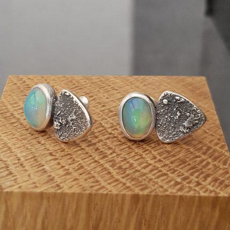 Ethiopian opal stud earrings in textured sterling silver