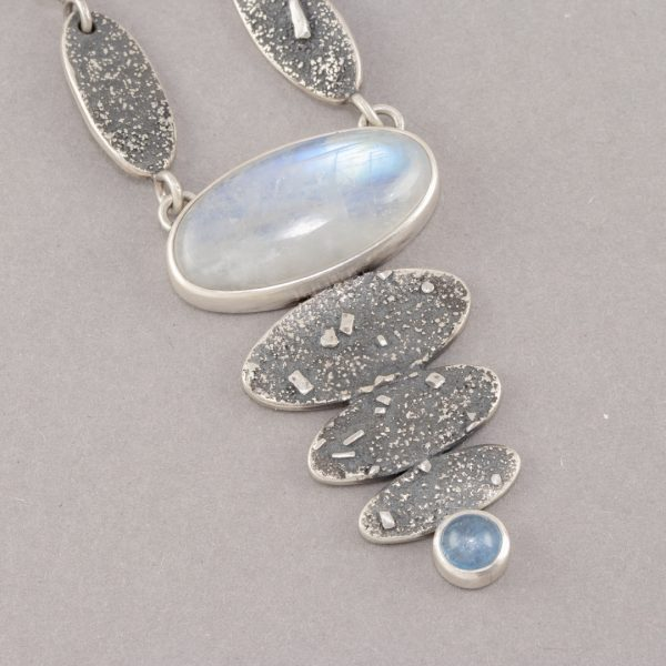 Rainbow moonstone necklace in textured sterling silver
