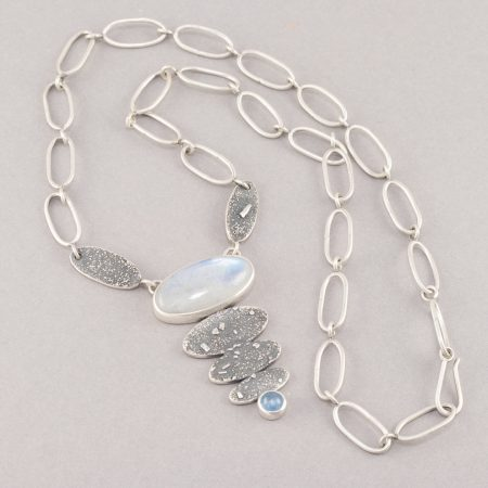 Handmade chain on rainbow moonstone necklace
