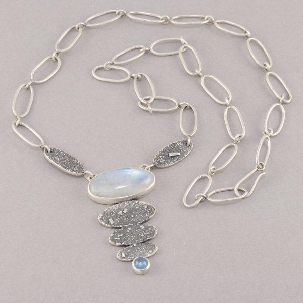Rainbow moonstone and aquamarine necklace with handmade chain